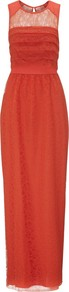 Narcisse Lace Maxi Dress - neckline: round neck; pattern: plain; sleeve style: sleeveless; style: maxi dress; waist detail: fitted waist; shoulder detail: contrast pattern/fabric at shoulder; predominant colour: terracotta; occasions: evening, occasion; length: floor length; fit: fitted at waist & bust; fibres: nylon - mix; hip detail: ruching/gathering at hip; bust detail: contrast pattern/fabric/detail at bust; back detail: keyhole/peephole detail at back; sleeve length: sleeveless; texture group: lace; pattern type: fabric; embellishment: lace