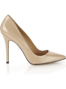 French 75 Stiletto - predominant colour: stone; occasions: evening, work, occasion; material: leather; heel: stiletto; toe: pointed toe; style: courts; finish: patent; pattern: plain; heel height: very high