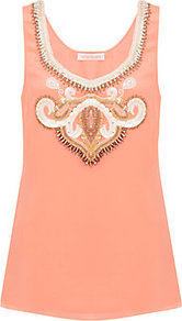 Embellished Tank Top - neckline: low v-neck; pattern: plain; sleeve style: sleeveless; bust detail: added detail/embellishment at bust; predominant colour: coral; occasions: casual, evening, occasion, holiday; length: standard; style: top; fibres: silk - 100%; fit: straight cut; sleeve length: sleeveless; texture group: sheer fabrics/chiffon/organza etc.; pattern type: fabric; embellishment: beading