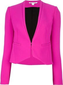 Hook Front Blazer - pattern: plain; style: single breasted blazer; collar: round collar/collarless; length: cropped; predominant colour: hot pink; occasions: casual, evening, work, occasion; fit: tailored/fitted; fibres: polyester/polyamide - 100%; sleeve length: long sleeve; sleeve style: standard; trends: fluorescent; collar break: medium; pattern type: fabric; texture group: woven bulky/heavy