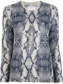 Snake Print Top - neckline: round neck; bust detail: buttons at bust (in middle at breastbone)/zip detail at bust; secondary colour: ivory; predominant colour: navy; occasions: casual, work; length: standard; style: top; fibres: linen - mix; fit: body skimming; sleeve length: long sleeve; sleeve style: standard; trends: statement prints; pattern type: fabric; pattern size: big & busy; pattern: animal print; texture group: jersey - stretchy/drapey