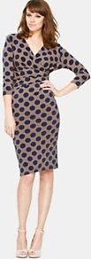 Petite Printed Jersey Dress - style: faux wrap/wrap; neckline: low v-neck; pattern: polka dot; waist detail: twist front waist detail/nipped in at waist on one side/soft pleats/draping/ruching/gathering waist detail; secondary colour: navy; predominant colour: taupe; occasions: casual, evening, occasion; length: on the knee; fit: body skimming; fibres: polyester/polyamide - 100%; sleeve length: 3/4 length; sleeve style: standard; texture group: jersey - clingy; trends: statement prints; pattern type: fabric; pattern size: big &amp; busy