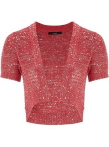 Sequin Shrug Lipstick - pattern: plain; length: cropped; neckline: collarless open; style: open front; predominant colour: true red; occasions: casual, occasion; fibres: acrylic - mix; fit: standard fit; sleeve length: short sleeve; sleeve style: standard; texture group: knits/crochet; pattern type: knitted - other; embellishment: sequins