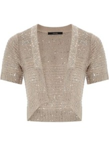 Sequin Shrug Wheat - pattern: plain; length: cropped; neckline: collarless open; style: open front; predominant colour: stone; occasions: casual, evening; fibres: acrylic - mix; fit: standard fit; sleeve length: short sleeve; sleeve style: standard; texture group: knits/crochet; pattern type: knitted - other; embellishment: sequins