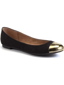 Black And Gold Metal Toe Cap Pumps - secondary colour: gold; predominant colour: black; occasions: casual, evening, work; material: suede; heel height: flat; toe: round toe; style: ballerinas / pumps; trends: metallics; finish: plain; pattern: plain; embellishment: toe cap