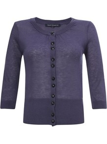 Cropped Knits Cardigan White, Blue, Purple, Grey - neckline: round neck; pattern: plain; predominant colour: navy; occasions: casual, work; length: standard; style: standard; fibres: polyester/polyamide - mix; fit: standard fit; sleeve length: 3/4 length; sleeve style: standard; texture group: knits/crochet; pattern type: knitted - fine stitch