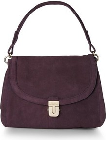 Ali Suede Shoulder Bag - predominant colour: aubergine; occasions: casual, evening, work; type of pattern: standard; style: shoulder; length: shoulder (tucks under arm); size: standard; material: suede; pattern: plain; finish: plain