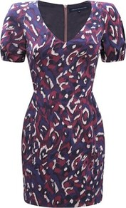 Pendragon Dress - style: shift; length: mini; neckline: v-neck; fit: tailored/fitted; occasions: evening, occasion; fibres: cotton - stretch; predominant colour: multicoloured; sleeve length: short sleeve; sleeve style: standard; trends: statement prints; pattern type: fabric; pattern size: standard; pattern: patterned/print; texture group: jersey - stretchy/drapey
