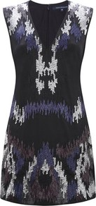 Pendragon Beading Dress - style: shift; length: mini; neckline: v-neck; sleeve style: sleeveless; secondary colour: navy; predominant colour: black; occasions: evening, occasion; fit: body skimming; fibres: cotton - 100%; sleeve length: sleeveless; pattern type: fabric; pattern size: small & busy; pattern: patterned/print; texture group: other - light to midweight; embellishment: beading