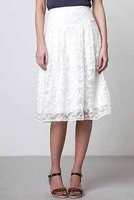 Fay Gossamer Midi - length: below the knee; pattern: plain; fit: loose/voluminous; waist detail: wide waistband/cummerbund; waist: high rise; predominant colour: white; occasions: casual, evening, holiday; style: fit & flare; fibres: nylon - mix; hip detail: soft pleats at hip/draping at hip/flared at hip; texture group: lace; pattern type: fabric; embellishment: embroidered
