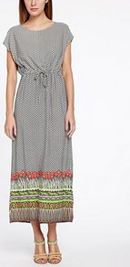 Poppy Field Maxi - neckline: round neck; fit: fitted at waist; style: maxi dress; length: ankle length; waist detail: belted waist/tie at waist/drawstring; secondary colour: bright orange; predominant colour: mid grey; occasions: casual, holiday; fibres: viscose/rayon - 100%; sleeve length: short sleeve; sleeve style: standard; pattern type: fabric; pattern size: small & busy; pattern: patterned/print; texture group: other - light to midweight