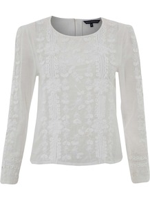 Annie Embroidered Tunic - neckline: round neck; pattern: plain; back detail: contrast pattern/fabric at back; predominant colour: light grey; occasions: casual, evening; length: standard; style: top; fibres: cotton - 100%; fit: body skimming; sleeve length: long sleeve; sleeve style: standard; texture group: knits/crochet; pattern type: knitted - fine stitch; embellishment: embroidered
