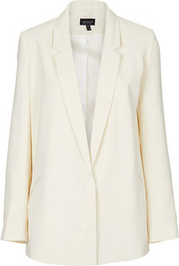 Tailored Longline Blazer - pattern: plain; style: single breasted blazer; length: below the bottom; collar: standard lapel/rever collar; predominant colour: ivory; occasions: evening, work, occasion; fit: tailored/fitted; fibres: polyester/polyamide - 100%; sleeve length: long sleeve; sleeve style: standard; trends: tuxedo; collar break: low/open; pattern type: fabric; texture group: woven light midweight