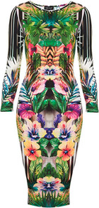 Botanical Floral Bodycon Dress - neckline: round neck; fit: tight; style: bodycon; secondary colour: emerald green; occasions: evening, occasion; length: on the knee; fibres: polyester/polyamide - stretch; predominant colour: multicoloured; sleeve length: 3/4 length; sleeve style: standard; texture group: jersey - clingy; pattern type: fabric; pattern size: big & busy; pattern: patterned/print
