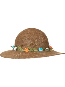 Straw Flower Beekeeper Hat - predominant colour: tan; occasions: casual, holiday; type of pattern: standard; style: sunhat; size: standard; material: macrame/raffia/straw; pattern: plain; embellishment: corsage