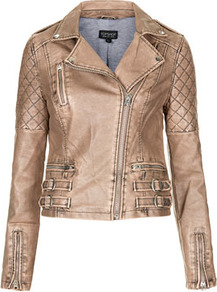 Nude Quilted Biker Jacket - pattern: plain; style: biker; collar: asymmetric biker; fit: slim fit; predominant colour: taupe; secondary colour: charcoal; occasions: casual; length: standard; fibres: polyester/polyamide - 100%; sleeve length: long sleeve; sleeve style: standard; texture group: leather; collar break: high/illusion of break when open; pattern type: fabric; embellishment: quilted