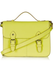 Edge Paint Satchel - predominant colour: lime; occasions: casual, work, holiday; type of pattern: standard; style: satchel; length: across body/long; size: small; material: faux leather; pattern: plain; trends: fluorescent; finish: fluorescent; embellishment: buckles