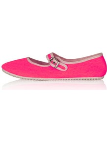 Tippi Mary Jane Canvas Pumps - predominant colour: hot pink; occasions: casual, holiday; material: fabric; heel height: flat; ankle detail: ankle strap; toe: round toe; style: ballerinas / pumps; trends: fluorescent; finish: plain; pattern: plain