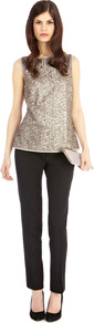 Odella Sequin Top - neckline: round neck; pattern: plain; sleeve style: sleeveless; back detail: low cut/open back; predominant colour: taupe; occasions: evening, occasion; length: standard; style: top; fit: body skimming; sleeve length: sleeveless; trends: metallics; pattern type: fabric; texture group: other - light to midweight; embellishment: sequins; fibres: cashmere - stretch