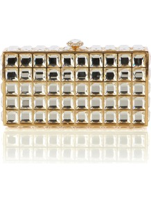 Tallulah Clutch - secondary colour: silver; predominant colour: gold; occasions: evening, occasion; type of pattern: large; style: clutch; length: hand carry; size: small; trends: metallics; finish: metallic; pattern: patterned/print