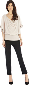 Lauren Calla Top - neckline: cowl/draped neck; sleeve style: angel/waterfall; pattern: plain; style: blouson; bust detail: ruching/gathering/draping/layers/pintuck pleats at bust; predominant colour: blush; secondary colour: gold; occasions: evening, occasion, holiday; length: standard; fibres: polyester/polyamide - 100%; fit: loose; sleeve length: half sleeve; texture group: sheer fabrics/chiffon/organza etc.; pattern type: fabric; embellishment: sequins