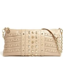 Nude Gansevoort Studded Chain Handle Clutch Bag - predominant colour: nude; secondary colour: gold; occasions: evening, occasion; type of pattern: light; style: clutch; length: hand carry; size: small; material: leather; embellishment: studs; pattern: plain; finish: plain