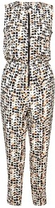Safari Geometric Printed Silk Jumpsuit - length: standard; neckline: round neck; fit: fitted at waist; sleeve style: sleeveless; waist detail: elasticated waist; bust detail: buttons at bust (in middle at breastbone)/zip detail at bust; secondary colour: black; occasions: casual, evening, holiday; predominant colour: multicoloured; sleeve length: sleeveless; texture group: silky - light; trends: modern geometrics; style: jumpsuit; pattern type: fabric; pattern size: small &amp; busy; pattern: patterned/print; fibres: silk - stretch