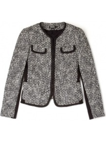 Jacquard Jacket With Contrast Trim - pattern: plain; collar: round collar/collarless; style: boxy; predominant colour: mid grey; secondary colour: black; occasions: casual, evening, work; length: standard; fit: straight cut (boxy); fibres: cotton - mix; sleeve length: long sleeve; sleeve style: standard; collar break: high; pattern type: fabric; texture group: tweed - light/midweight