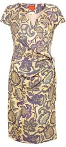 Triffids Print Wrap Dress - style: faux wrap/wrap; neckline: low v-neck; fit: fitted at waist; waist detail: twist front waist detail/nipped in at waist on one side/soft pleats/draping/ruching/gathering waist detail; secondary colour: lilac; occasions: casual, evening, work; length: on the knee; fibres: viscose/rayon - 100%; hip detail: ruching/gathering at hip; predominant colour: multicoloured; sleeve length: short sleeve; sleeve style: standard; trends: statement prints; pattern type: fabric; pattern size: big &amp; busy; pattern: patterned/print; texture group: jersey - stretchy/drapey