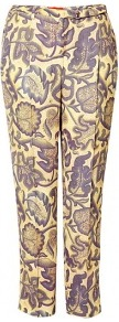 Triffids Print Trousers - pocket detail: pockets at the sides; waist: mid/regular rise; predominant colour: primrose yellow; secondary colour: mid grey; occasions: evening, work, occasion, holiday; length: ankle length; fibres: viscose/rayon - 100%; hip detail: front pleats at hip level; texture group: cotton feel fabrics; trends: statement prints; fit: straight leg; pattern type: fabric; pattern size: big &amp; busy; pattern: patterned/print; style: standard