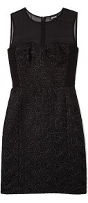Sleeveless Mixed Media Dress - style: shift; length: mid thigh; neckline: round neck; fit: tailored/fitted; pattern: plain; sleeve style: sleeveless; waist detail: fitted waist; shoulder detail: contrast pattern/fabric at shoulder; predominant colour: black; occasions: evening, occasion; fibres: nylon - mix; sleeve length: sleeveless; texture group: structured shiny - satin/tafetta/silk etc.; pattern type: fabric; pattern size: standard; embellishment: embroidered