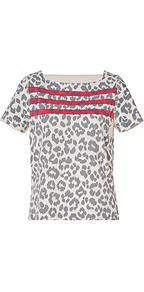 Cotton Dita The Cheetah Top In Dapper Grey Multi - neckline: high square neck; style: t-shirt; secondary colour: hot pink; predominant colour: light grey; occasions: casual, work, holiday; length: standard; fibres: cotton - mix; fit: body skimming; bust detail: contrast pattern/fabric/detail at bust; sleeve length: short sleeve; sleeve style: standard; texture group: cotton feel fabrics; trends: statement prints; pattern type: fabric; pattern size: small &amp; busy; pattern: animal print