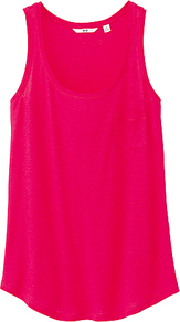 Women Modal Linen Tank Top 12 Pink - pattern: plain; sleeve style: sleeveless; style: vest top; predominant colour: hot pink; occasions: casual, holiday; length: standard; neckline: scoop; fibres: linen - mix; fit: body skimming; sleeve length: sleeveless; pattern type: fabric; texture group: jersey - stretchy/drapey