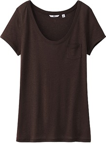 Women Modal Linen Short Sleeve T Shirt 37 Brown - pattern: plain; style: t-shirt; predominant colour: black; occasions: casual, holiday; length: standard; neckline: scoop; fibres: polyester/polyamide - mix; fit: straight cut; sleeve length: short sleeve; sleeve style: standard; pattern type: fabric; texture group: jersey - stretchy/drapey