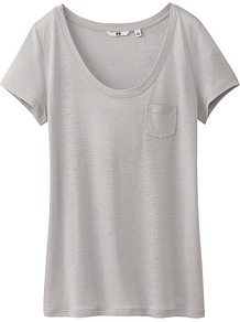 Women Modal Linen Short Sleeve T Shirt 04 Gray - pattern: plain; length: below the bottom; style: t-shirt; predominant colour: mid grey; occasions: casual, holiday; neckline: scoop; fibres: linen - mix; fit: body skimming; sleeve length: short sleeve; sleeve style: standard; pattern type: fabric; texture group: jersey - stretchy/drapey