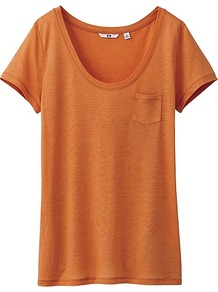 Women Modal Linen Short Sleeve T Shirt 22 Orange - pattern: plain; style: t-shirt; predominant colour: bright orange; occasions: casual, holiday; length: standard; neckline: scoop; fibres: polyester/polyamide - mix; fit: body skimming; sleeve length: short sleeve; sleeve style: standard; pattern type: knitted - big stitch; texture group: jersey - stretchy/drapey