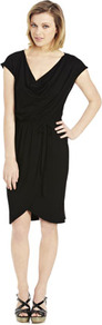 Cowl Neck Jersey Dress - style: faux wrap/wrap; neckline: low v-neck; sleeve style: capped; pattern: plain; waist detail: twist front waist detail/nipped in at waist on one side/soft pleats/draping/ruching/gathering waist detail; bust detail: ruching/gathering/draping/layers/pintuck pleats at bust; predominant colour: black; occasions: evening; length: just above the knee; fit: body skimming; fibres: viscose/rayon - stretch; hip detail: ruching/gathering at hip; sleeve length: short sleeve; pattern type: fabric; texture group: jersey - stretchy/drapey