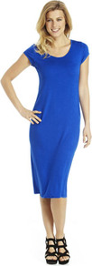 Midi Tube Dress - style: t-shirt; length: below the knee; neckline: round neck; sleeve style: capped; pattern: plain; predominant colour: royal blue; occasions: casual, evening; fit: body skimming; fibres: viscose/rayon - stretch; sleeve length: short sleeve; pattern type: fabric; texture group: jersey - stretchy/drapey