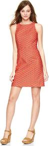 Geometric Sheath Dress - style: shift; fit: tailored/fitted; sleeve style: sleeveless; predominant colour: bright orange; occasions: casual, evening, occasion; length: just above the knee; fibres: cotton - stretch; neckline: crew; sleeve length: sleeveless; trends: glamorous day shifts; pattern type: fabric; pattern size: small & busy; pattern: patterned/print; texture group: woven light midweight