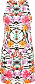 Tropical Print Racer Dress - style: shift; length: mini; neckline: round neck; fit: tailored/fitted; sleeve style: sleeveless; secondary colour: white; occasions: casual, occasion, holiday; fibres: polyester/polyamide - stretch; predominant colour: multicoloured; sleeve length: sleeveless; texture group: jersey - clingy; trends: statement prints; pattern type: fabric; pattern size: standard; pattern: patterned/print