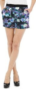Digital Floral Short - style: shorts; pocket detail: pockets at the sides; length: short shorts; waist: mid/regular rise; secondary colour: pale blue; predominant colour: navy; occasions: casual, evening, occasion, holiday; fibres: polyester/polyamide - 100%; texture group: cotton feel fabrics; trends: high impact florals; fit: straight leg; pattern type: fabric; pattern size: small & busy; pattern: florals