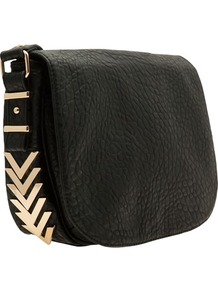 Black Gold Rim Saddle Bag - secondary colour: gold; predominant colour: black; occasions: casual, work; type of pattern: standard; style: saddle; length: across body/long; size: standard; material: fabric; pattern: plain; finish: plain