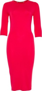 Hot Pink Sophia Dress - fit: tight; pattern: plain; style: bodycon; predominant colour: true red; occasions: evening, work, occasion; length: on the knee; fibres: viscose/rayon - stretch; neckline: crew; sleeve length: 3/4 length; sleeve style: standard; trends: glamorous day shifts; pattern type: fabric; texture group: jersey - stretchy/drapey