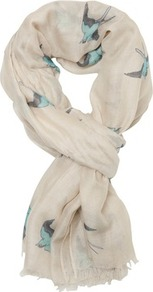 Print Bird Print Scarf - predominant colour: white; secondary colour: turquoise; occasions: casual, work; type of pattern: light; style: regular; size: standard; material: fabric; pattern: patterned/print