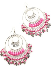 Multi Hoop Earrings, Pink - secondary colour: pink; predominant colour: silver; occasions: casual, evening, occasion; style: chandelier; length: long; size: large/oversized; material: chain/metal; fastening: pierced; finish: metallic; embellishment: beading