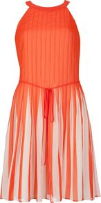 Women&#x27;s Aza Stripe Pleated Dress, Orange - length: mid thigh; pattern: plain; sleeve style: sleeveless; neckline: halter neck; waist detail: belted waist/tie at waist/drawstring; secondary colour: ivory; predominant colour: bright orange; occasions: evening, occasion; fit: fitted at waist &amp; bust; style: fit &amp; flare; fibres: polyester/polyamide - 100%; hip detail: structured pleats at hip; sleeve length: sleeveless; texture group: sheer fabrics/chiffon/organza etc.; bust detail: tiers/frills/bulky drapes/pleats; pattern type: fabric