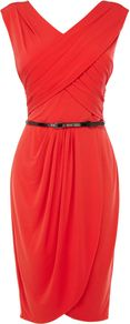 Women's Rene Jersey Dress, Orange - style: faux wrap/wrap; length: below the knee; neckline: v-neck; sleeve style: capped; pattern: plain; waist detail: belted waist/tie at waist/drawstring; predominant colour: bright orange; occasions: evening, occasion; fit: body skimming; fibres: polyester/polyamide - stretch; hip detail: soft pleats at hip/draping at hip/flared at hip; sleeve length: sleeveless; bust detail: tiers/frills/bulky drapes/pleats; pattern type: fabric; texture group: jersey - stretchy/drapey