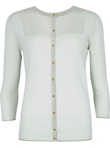 Women's Woolma Metallic Cardigan, Mint - neckline: round neck; pattern: plain; back detail: contrast pattern/fabric at back; predominant colour: pistachio; occasions: casual, evening, work; length: standard; style: standard; fibres: cotton - stretch; fit: standard fit; bust detail: contrast pattern/fabric/detail at bust; sleeve length: 3/4 length; sleeve style: standard; texture group: knits/crochet; pattern type: knitted - other