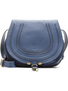Marcie Crossbody Leather Bag - predominant colour: navy; occasions: casual; style: saddle; length: across body/long; size: small; material: leather; pattern: plain; finish: plain