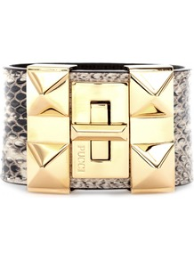 Snakeskin Studded Cuff Bracelet - predominant colour: gold; secondary colour: charcoal; occasions: evening, work, occasion, holiday; style: cuff; size: large/oversized; material: leather; finish: plain; embellishment: chain/metal